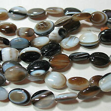 Black Brown White Banded Sardonyx Agate 10x14mm Puffy Oval Beads 16""