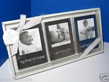 """NEW Carters Baby Lot of 3 Silvertone Babys Firsts Picture Frame Set 2.5x2.5"""""""