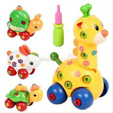 Kid Infant Educational Wood Toy Disassembly Assembly Screw Cartoon Car Develop