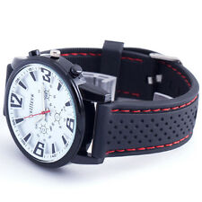 Stylish White Dial Luxury Sport Men Boy Quartz Wrist Watch Vintage Rubber Band39