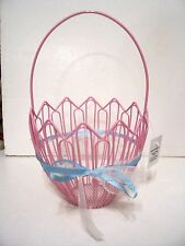 CUTE PINK METAL EASTER  EGG BASKET SHEER AND BLUE RIBBON SPRING Hobby Lobby