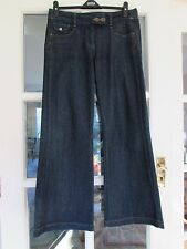 NEXT Ladies Smart Wide Leg 'Sailor' Nautical Jeans Trousers UK 14 Regular 32""