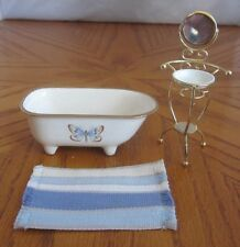 Doll House Miniature Ceramic Bath Tub & Metal Wash Stand & Bath Mat 1:12