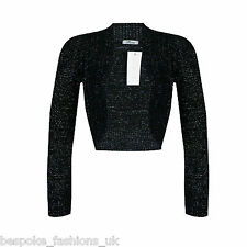 Ladies Long Sleeve Cropped Bolero Knitted Lurex Shrug Sparkly Top Plus Size 8-16