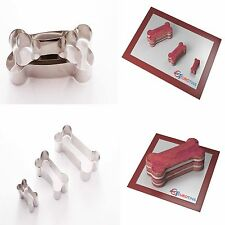 "Dog Bone Shape Steel Cookie Cake Fondant Cutter 1"" deep set of 3"