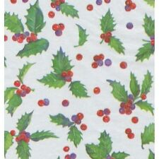 CHRISTMAS HOLLY TOSS TISSUE  PAPER-10 Large Sheets