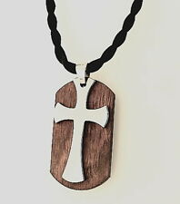 Men's Tungsten Carbide and Rosewood Cross Necklace Pendant With Black Cord