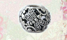 Authentic Pandora SILVER BEAD/CHARM Dragonfly Meadow 791733cz new clear