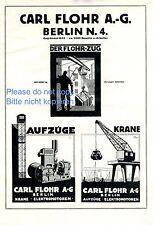 Aufzüge Flohr Berlin XL Reklame von 1925 Kran Aufzug Lift Fahrstuhl Rudi Müller