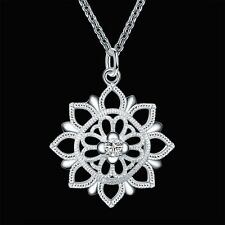 Women Bib 925 Sterling Silver Plated Crystal Sunflower Pendant Necklace Jewelry