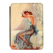 Pin Up Girl Blue Night Dress Poster iPad Mini 1 2 3 PU Leather Flip Case Cover