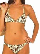 New Cream Brown Bikini Set UK 8 Aus 10 Triangle Cups removable padding Hawaii