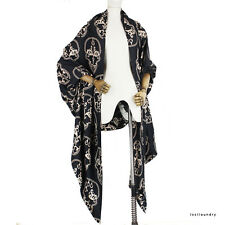 Thomas Wylde Black Cream Skull Patterned Luxurious Pure Silk Scarf Shawl Wrap