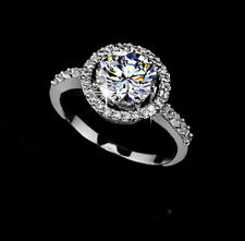 1.50 ct Halo Style round Diamond Engagement Wedding ring 14K SOLID White Gold