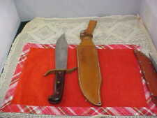 Vintage Bowie Knife By Western USA #W49 Leather Sheath Has Belt Loop Good Cond