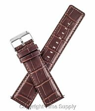 24 mm BROWN LEATHER WATCH BAND CROCO EXTRA LONG XXL