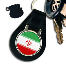 IRAN FLAG  LEATHER KEYRING / KEYFOB