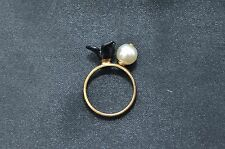 J.Crew Gold Plated Sterling Silver Black Floral Pearl Ring Size 7 Retired