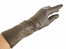 ELEPHANT GREY LADIES LEATHER GLOVES, SILK LINING, ITALY?  sz 7, butter-soft  VTG