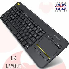 Logitech k400 Plus Wireless Wi-Fi Touch UK LAYOUT Keyboard for Laptop, TV Black