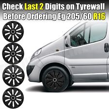 "16"" Ford Transit Vivaro Traffic Wheel Trims Covers Hubcaps Set 4 Black Quality"
