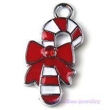 20x Colors Enamel Alloy Christmas Stick Pendants 27x13mm Charm Wholesale 140951