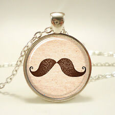 Mustache Necklace, Hipster Jewelry, Silver Plate