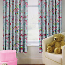 "Hello There Children's Kids Curtains 66"" by 72"" + Tiebacks Nursery Bedding Girls"