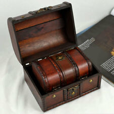 2pc Vintage Small Metal Lock Jewelry Treasure Chest Case Handmade Wooden Box