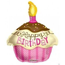 "18"" Happy Birthday Pink Cupcake with Candle Mylar Foil Balloon Party Deocrations"