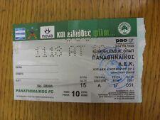 04/11/2012 Ticket: Panathinaikos v AEK Athens (folded/creased). Thanks for viewi