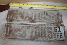 VINTAGE PAIR 1951 NEBRASKA LICENSE PLATE C - 3 TONS TRUCK TAG SET
