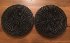 "Lot of 2 POTTERY BARN 14"" Woven WICKER Rustic CHARGERS Rattan Dark MENDOCINO"