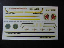 1/72 DECALS B-N ISLANDER  DEFENDER  AIR LIBERIA / PHILIPINES NAVY DECALCOMANIES