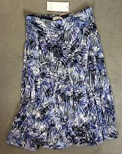 M&S GREY & LILAC LEAF PATTERNED SKIRT IN A-LINE FLOWING STYLE - SIZE 8 -BNWT
