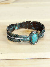 Feather Cuff Bracelet Western Cuff Turquoise Bangle Vintage Patina Bronze