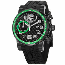 Graham Men's Silverstone Black/Green Dial Rubber Strap Chrono Watch 2SAAB.B02A