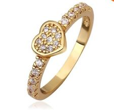 24K Gold Plated CUBIC ZIRCONIA HEART LOVE RING Size 7 Antiallergic Classic