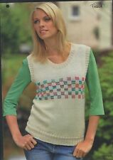 Knitting pattern Ladies checkered Vest Top & Bag 2 3/4mm Knitting needle 4 Ply