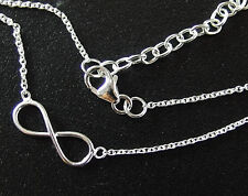 925 Sterling Silver Infinity Chain  Necklace 16 - 17 inches adjustable