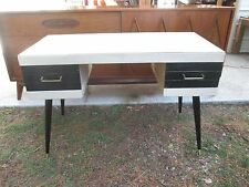 MID CENTURY MODERN 50`s ~ 60`s  DESK LAMINATE TOP / BRASS CAPPED LEGS FREE SHIP