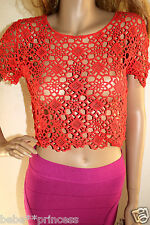NWT bebe coral orange crochet floral sweater party clubbing sexy top M medium