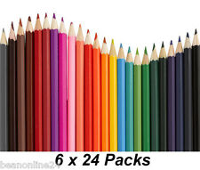 Bulk 6 Packs x 24 Colour / Coloured Pencils