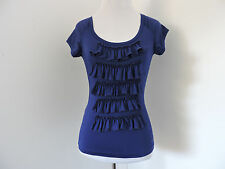 BABY PHAT FITTED BLUE RUFFLE DETAIL CAP SLEEVE CREW NECK LOGO TOP SZ S/P