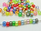 500 Mixed Color Silver Foil Pony Barrel Beads 6X4mm for Kandi Bracelets Craft