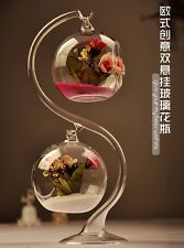Dual Glass Ball Shape Flower Vase Micro Landscape Terrarium + Support Stand