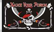 Name Your Poison 5'x3' Pirate Flag Skull Crossbones