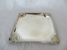 "Vintage Silver Plate Square Tray Platter Server Ornate Flowers 10"" (ref63)"