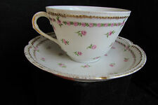 GDA LIMOGES FRANCE CUP & SAUCER - DOUBLE GOLD EDGING W/ PINK ROSES