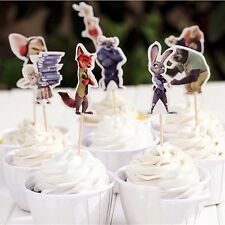 12X Zootopia Animal Cupcake Topper Pick. Party Supplies Food Lolly *Superb*